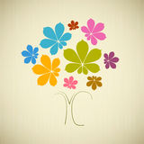 Abstract Vector Colorful Tree. On Old Paper Background Royalty Free Stock Images