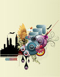 Abstract vector composition. Illustration over a color background Stock Photography