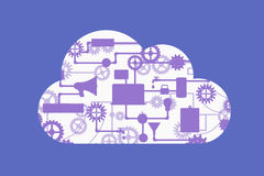Abstract vector concept of cloud computing. With many graphic icons which form a cloud shape. Web and application development flat banner with icons Stock Images