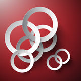 Abstract Vector Connected Paper Cut Circles on Red Background. Stock Photos