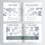 Abstract vector covers template set. Bi fold brochure layout design, hexagonal and polygonal background. Abstract vector covers template set. Bi fold brochure Royalty Free Stock Photo
