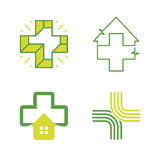 Abstract vector cross logos collection. Unusual  logo set. Royalty Free Stock Images