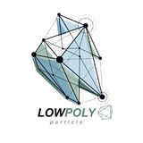 Abstract vector 3d geometric low poly object. Technology and sci. Ence conceptual logo Stock Photos