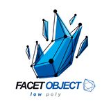 Abstract vector 3d geometric low poly object. Technology and sci. Ence conceptual logo Stock Photo
