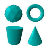 Abstract vector 3d shapes set. Vector illustration Royalty Free Stock Photo