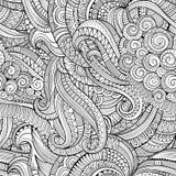 Abstract vector decoratief hand getrokken aard bloemen naadloos patroon Stock Foto's