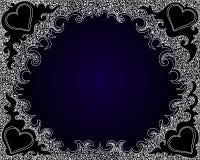 Abstract vector decoratief kader op de blauwe gradiëntachtergrond met het krullen van elementen Stock Afbeeldingen