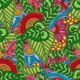 Abstract vector decorative ethnic floral colorful seamless pattern Royalty Free Stock Image