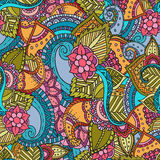 Abstract vector decorative ethnic floral colorful seamless pattern. Stock Image