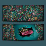 Abstract vector decorative ethnic ornamental backgrounds. Series of image Template frame design for card Royalty Free Stock Image