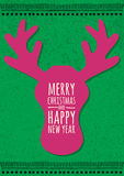 Abstract vector deer head on green grunge background. Christmas or New Year greeting card, invitation. Royalty Free Stock Photography