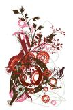Abstract vector design elements. Eroded grunge circles, ink blots ,floral decoration Stock Photos