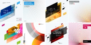 Abstract vector design elements for graphic layout. Modern business template with colourful strong geometric shapes blend effect, decoration, joy, party Stock Photo