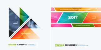Abstract vector design elements for graphic layout. Modern busin. Ess background template with colourful triangles, arrows for tech, building, urban stock image