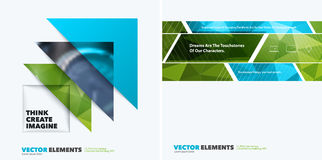 Abstract vector design elements for graphic layout. Modern busin. Ess background template with green triangles, arrows for tech, building, urban, construction Stock Photo