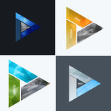 Abstract vector design elements for graphic layout. Modern business background template with colourful triangles,. Arrows for tech, innovative technology Royalty Free Stock Photos