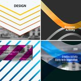 Abstract vector design elements for graphic layout. Modern business template with many colourful rectangles, abstract lines, decoration, joy, party Stock Image