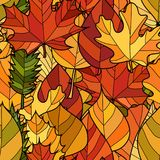 Vector doodle autumn leaves seamless pattern. Abstract vector doodle autumn leaves seamless pattern Royalty Free Stock Photography