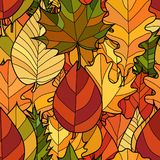 Vector doodle autumn leaves seamless pattern. Abstract vector doodle autumn leaves seamless pattern Stock Photography