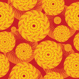 Abstract vector endless pattern of circles. Pattern for wrapping paper, boxes, bags. Followed with waves royalty free illustration