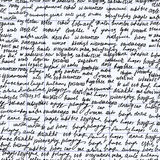 Abstract vector endless seamless texture with handwritten text, words and letters. Handwritten on a grid paper Stock Photos