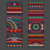 Abstract vector ethnic pattern cards set Stock Photos
