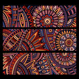 Abstract vector ethnic pattern cards set. Abstract vector decorative ethnic pattern cards set Stock Photo