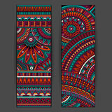 Abstract vector ethnic pattern cards set Stock Image