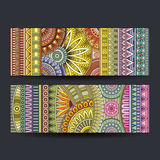Abstract vector ethnic pattern cards set. Abstract vector hand drawn vintage ethnic pattern card set Stock Photography