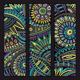 Abstract vector ethnic pattern cards set Royalty Free Stock Photos