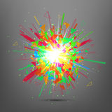 Abstract vector explosion. Colorful glowing blast.explosion. Stock Photo