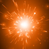 Abstract vector fireworks explosion red background with shining sparks. New Year celebration fireworks. Burst of glowing. Particles with fireball in the center Royalty Free Stock Image
