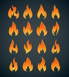 Flames Icons Set. Abstract vector flame logos collection. Simple red burning fires set. Cool badge or sign design elements Royalty Free Stock Images