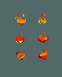 Abstract vector flames. Hand drawn vectors illustration or drawing of different abstract vector fire flames stock illustration