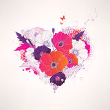 Abstract vector floral heart Stock Photos