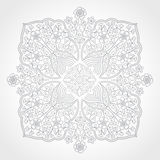 Abstract vector floral ornament. Lace pattern design. Grey ornament on light background. Floral decorative element. Mandala. Ornate backdrop for your design Royalty Free Stock Image