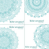 Abstract vector floral ornamental border. Lace pattern design. Abstract blue vector floral ornamental border set. Lace pattern design Royalty Free Stock Image