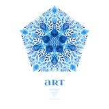 Abstract vector floral ornamental border. Lace pattern design. Watercolor ornament on blue background. Vector ornamental border fr Royalty Free Stock Photos