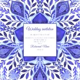 Abstract vector floral ornamental border. Lace pattern design. Watercolor ornament on blue background. Vector ornamental border fr. Ame. Can be used for Xmas vector illustration