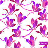 Abstract vector floral watercolor seamless background. Stock Image