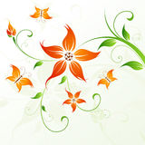 Abstract vector flower background with butterfly Royalty Free Stock Photos