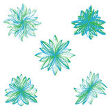 Abstract vector flowers on white background. Royalty Free Stock Photos