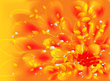 Abstract vector fractal with autumn leaves and Royalty Free Stock Photo
