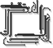 Abstract vector frame with shadow in PCB-layout style. Stock Image