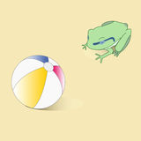Abstract vector frog and ball. Royalty Free Stock Photos