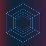 Abstract Vector Futuristisch Hexagonaal Element voor Dekkingsontwerp, Purpere en Blauwe Achtergrond Stock Foto