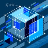 Abstract vector geometric 3D elements in futuristic style blue b. Lack template composition. Technical plan can be used in web design and as wallpaper or stock illustration
