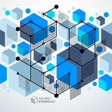 Abstract vector geometric 3D elements in futuristic style blue t. Emplate composition. Technical plan can be used in web design and as wallpaper or background stock illustration