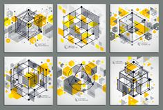 Abstract vector geometric 3D elements in futuristic style yellow. Template compositions set. Technical plan can be used in web design and as wallpaper or Royalty Free Stock Images