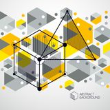 Abstract vector geometric 3D elements in futuristic style yellow. Template composition. Technical plan can be used in web design and as wallpaper or background stock illustration